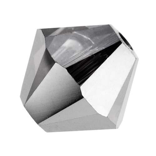 Swarovski Crystal, #5328 Bicone Beads 4mm, 24 Pieces, Crystal Silver Night