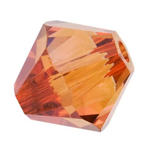 Swarovski Crystal, #5328 Bicone Beads 6mm, 20 Pieces, Crystal Copper