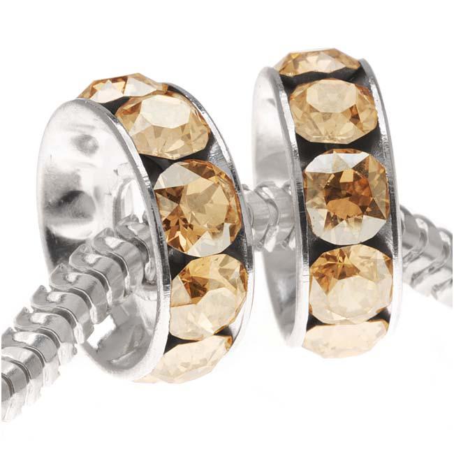 Final Sale - Swarovski Crystal, #77512 BeCharmed Rondelle 4.5mm Large Hole Beads 12mm, 2 Pcs, Golden Shadow
