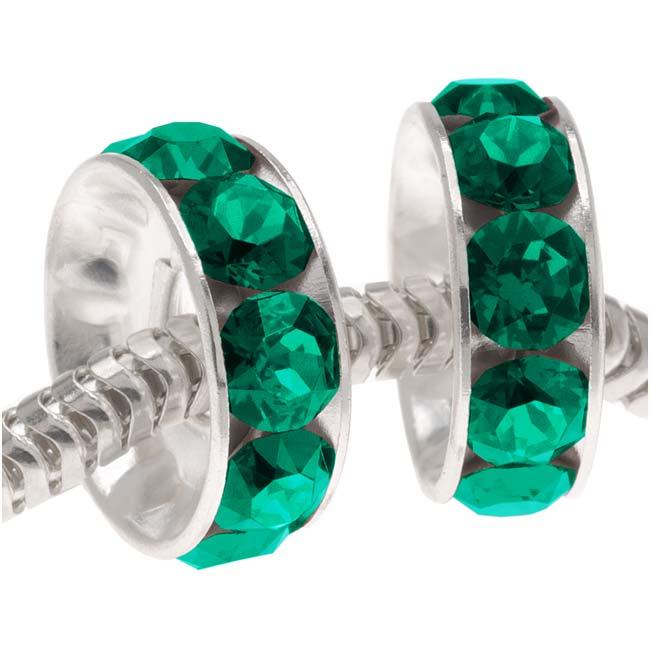 Swarovski Crystal, #77512 BeCharmed Rondelle 4.5mm Large Hole Beads 12mm, 2 Pcs, Emerald