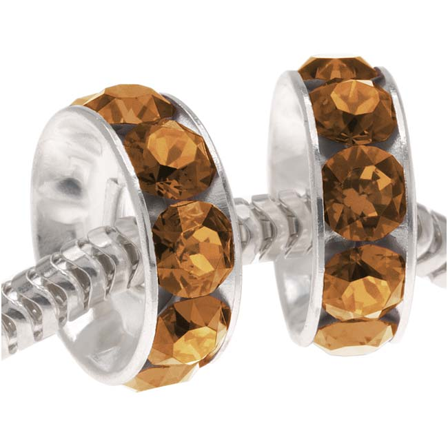 Final Sale - Swarovski Crystal, #77512 BeCharmed Rondelle 4.5mm Large Hole Bead 12mm, 2 Pieces, Smoked Topaz