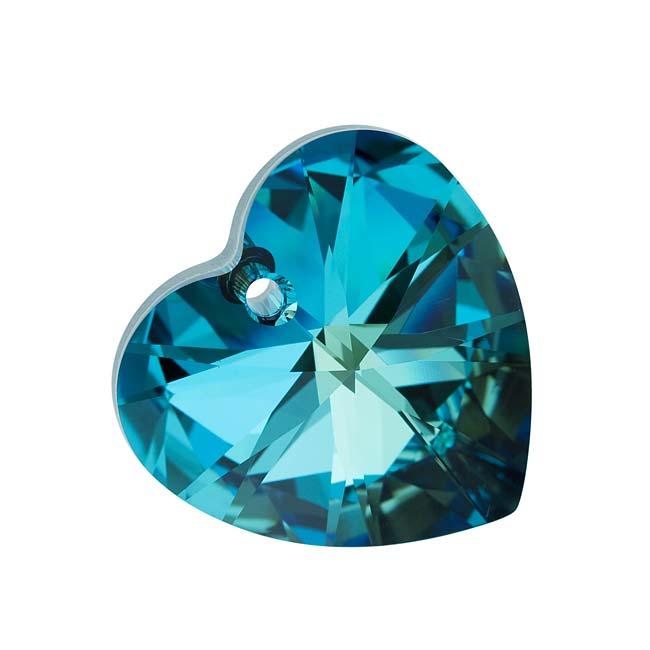 Final Sale - Swarovski Crystal, #6228 Heart Pendant 28mm, 1 Piece, Bermuda Blue