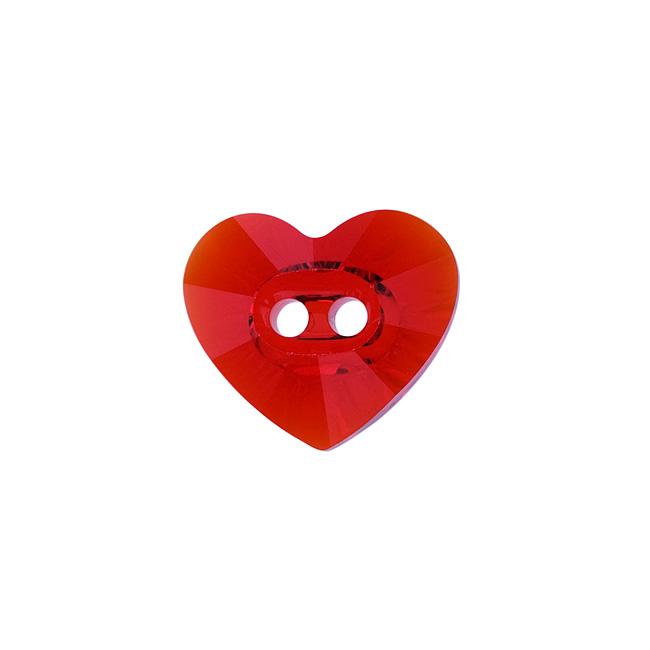 Swarovski Crystal, 3023 Heart Sew-On Stone Buttons 14x12mm, 1 Piece, Light Siam