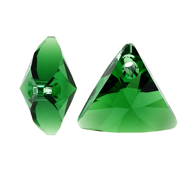 Swarovski Crystal, #6628 Xilion Triangle Pendant 16mm, 2 Pieces, Dark Moss Green
