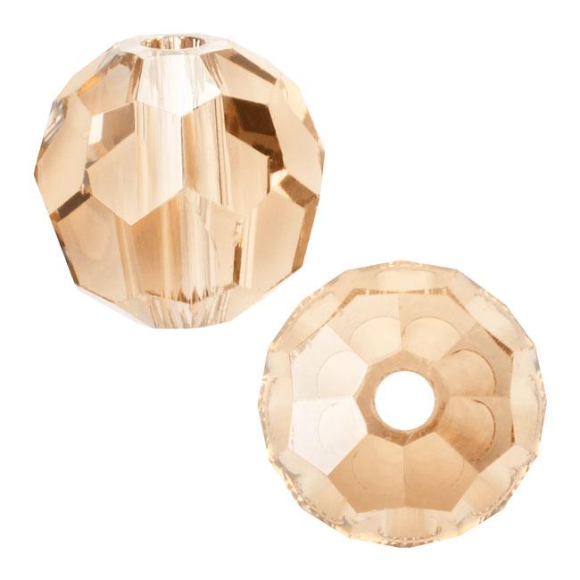 Swarovski Crystal, #5000 Round Beads 4mm, 12 Pieces, Crystal Golden Shadow
