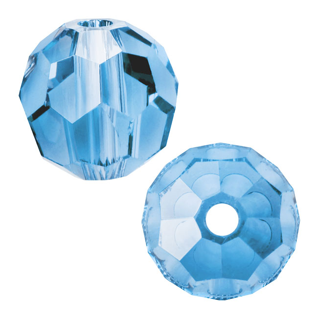 Swarovski Crystal, #5000 Round Beads 6mm, 10 Pieces, Aquamarine