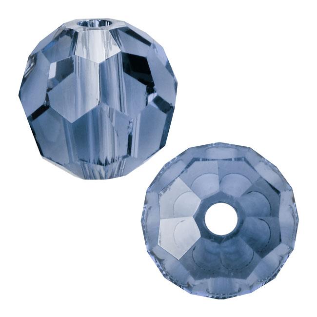 Swarovski Crystal, #5000 Round Beads 6mm, 10 Pieces, Denim Blue