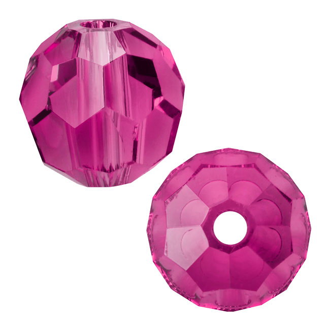 Swarovski Crystal, #5000 Round Beads 6mm, 10 Pieces, Fuchsia