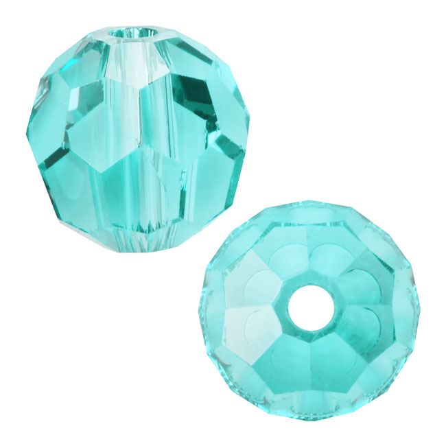 Swarovski Crystal, #5000 Round Beads 8mm, 8 Pieces, Light Turquoise