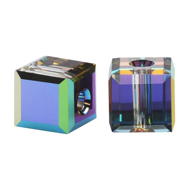Swarovski Crystal, #5601 Cube Beads 6mm, 4 Pieces, Vitrail Medium