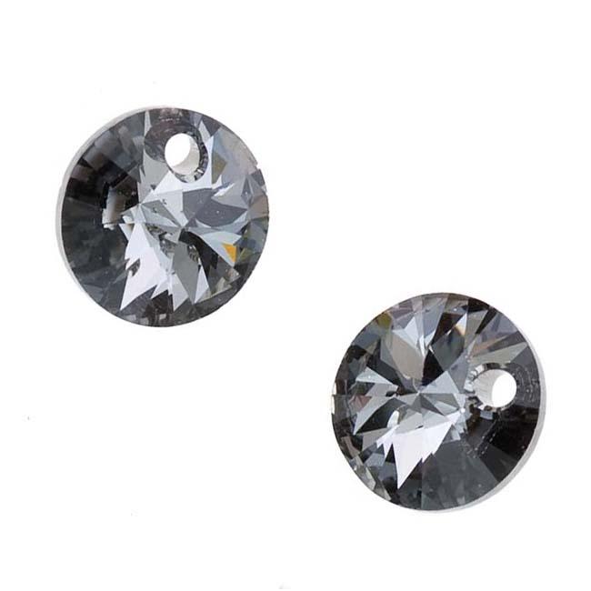 Swarovski Crystal, #6428 Xilion Round Pendants 8mm, 8 Pieces, Crystal Silver Night