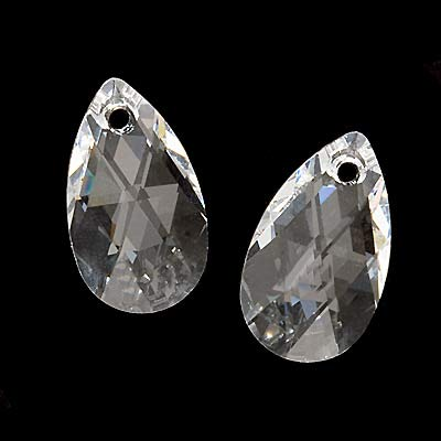 Swarovski Crystal, #6106 Pear Pendant 16mm, 2 Pieces, Crystal
