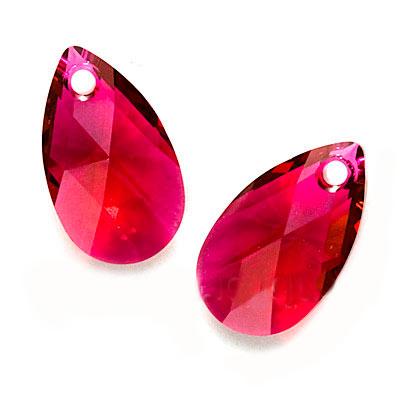 Swarovski Crystal, #6106 Pear Pendant 16mm, 2 Pieces, Ruby
