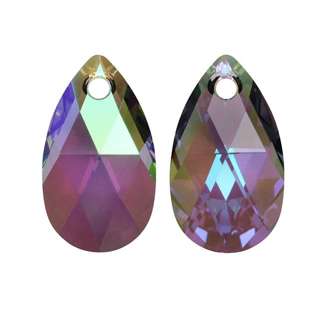 Swarovski Crystal, #6106 Pear Pendant 16mm, 2 Pieces, Crystal Paradise Shine