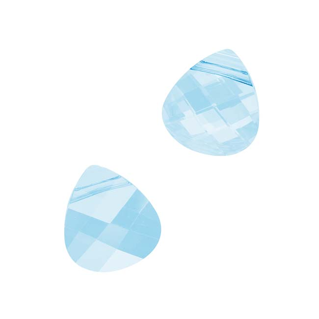 Swarovski Crystal, #6012 Briolette Pendants 11x10mm, 2 Pieces, Aquamarine