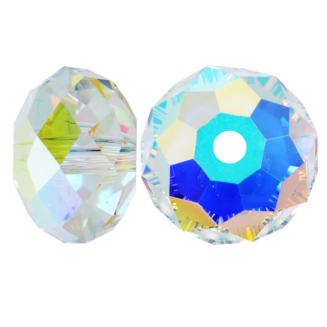Swarovski Crystal, #5040 Rondelle Beads 4mm, 12 Pieces, Crystal AB