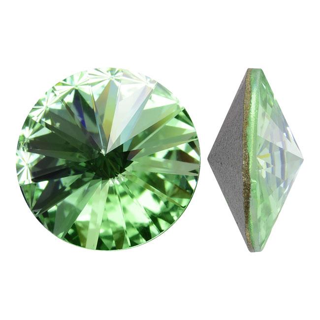 Swarovski Crystal, #1122 Rivoli Fancy Stones 12mm, 4 Pieces, Chrysolite Foiled