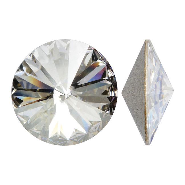 Swarovski Crystal, #1122 Rivoli Fancy Stones 12mm, 4 Pieces, Crystal Silver Shade Foiled