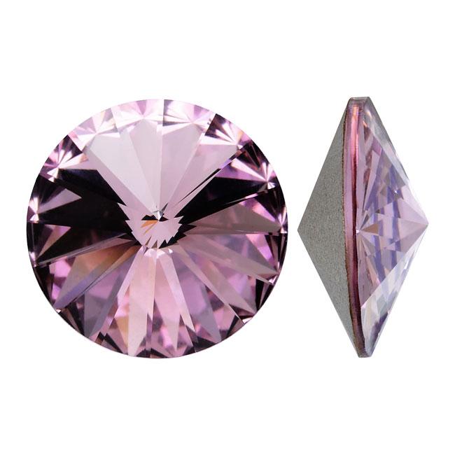 Swarovski Crystal, #1122 Rivoli Fancy Stones 12mm, 4 Pieces, Lt Amethyst Foiled