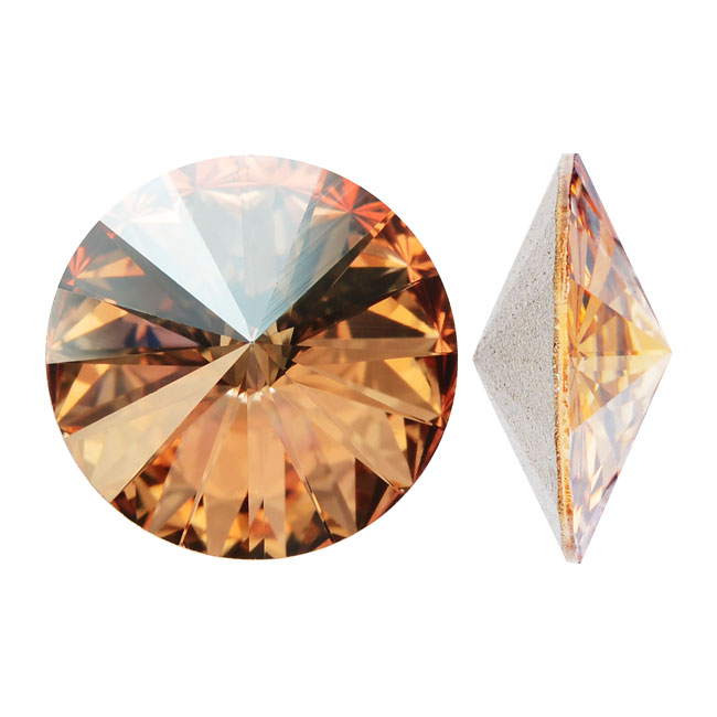 Swarovski Crystal, #1122 Rivoli Fancy Stones 12mm, 4 Pieces, Crystal Golden Shadow Foiled