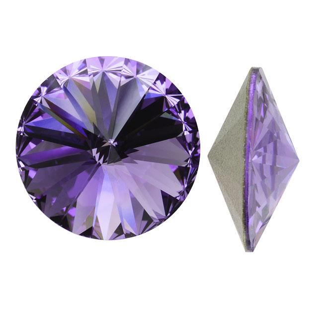 Swarovski Crystal, #1122 Rivoli Fancy Stones 12mm, 4 Pieces, Tanzanite Foiled
