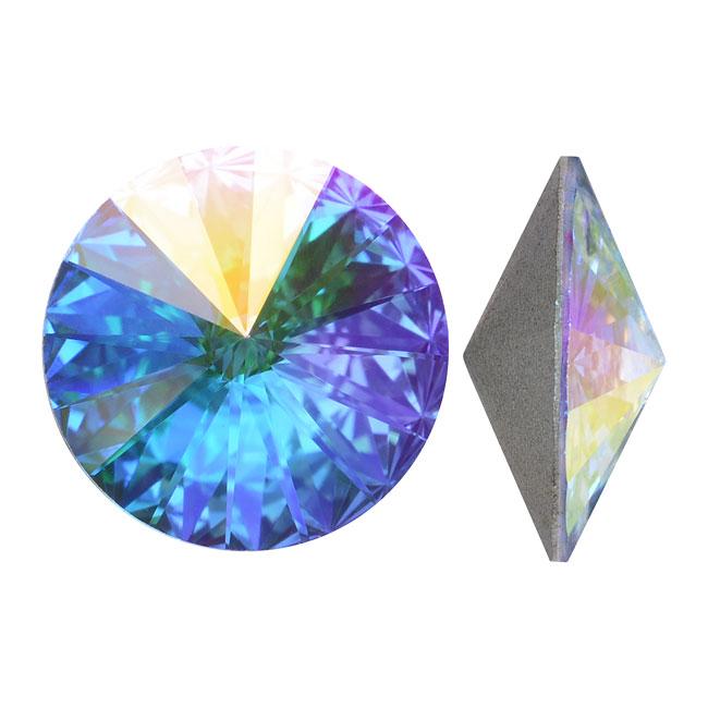Swarovski Crystal, #1122 Rivoli Fancy Stones 14mm, 2 Pieces, Crystal AB Foiled