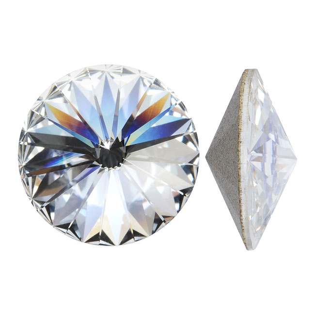 Swarovski Crystal, #1122 Rivoli Fancy Stones 16mm, 2 Pieces, Crystal Foiled