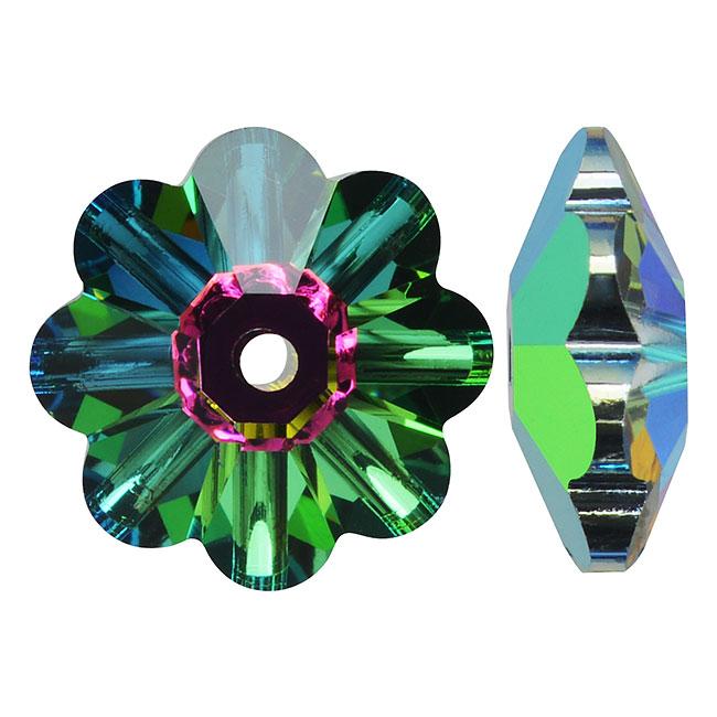 Swarovski Crystal, #3700 Flower Margarita Beads 14mm, 4 Pieces, Crystal Vitrail Medium UNF