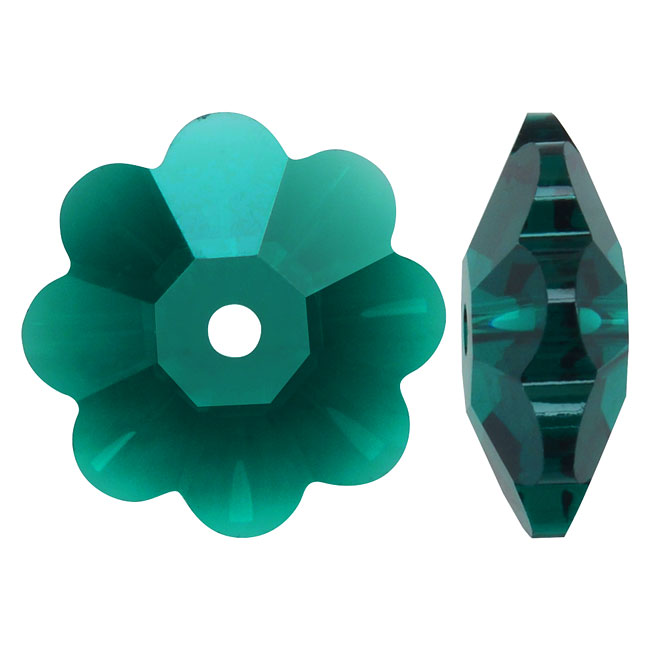 Swarovski Crystal, #3700 Flower Margarita Beads 12mm, 4 Pieces, Emerald
