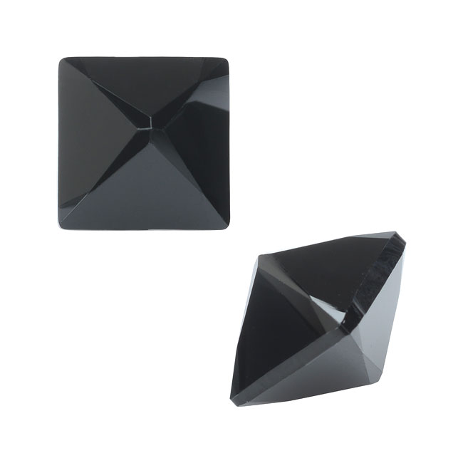 Final Sale - Swarovski Crystal, #4418 Xilion Pointed Square Fancy Stones 8mm, 2 Pieces, Jet