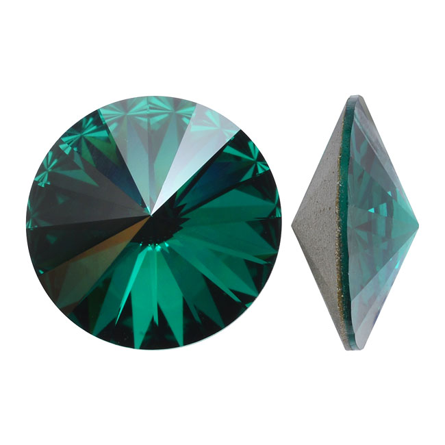 Swarovski Crystal, #1122 Rivoli Fancy Stone ss47 11mm, 4 Pieces, Emerald F