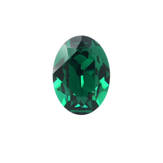 Swarovski Crystal, #4120 Oval Fancy Stones 14x10mm, 1 Piece, Emerald F