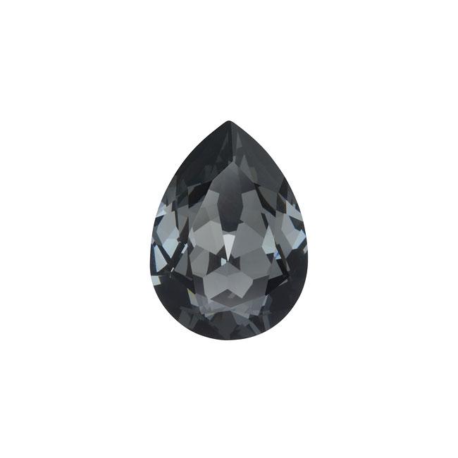 Swarovski Crystal, #4320 Pear Fancy Stone 14x10mm, 1 Piece, Crystal Silver Night F