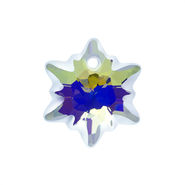 Swarovski Crystal, 6748 Edelweiss Pendant 14mm, 1 Piece, Crystal AB Frosted