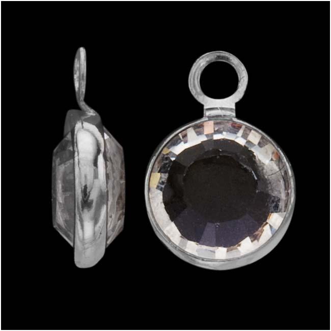Swarovski Crystal, Rhodium Plated Channel Charm, 7mm, 8 Pieces, Crystal