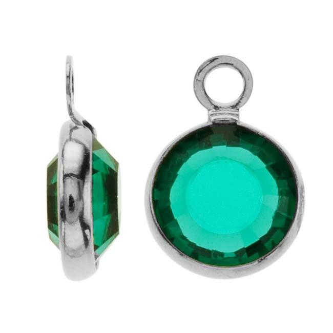 Swarovski Crystal, Rhodium Plated Channel Charm, 7mm, 8 Pieces, Emerald