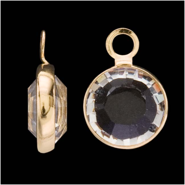 Swarovski Crystal, Gold Plated Channel Charm, 7mm, 8 Pieces, Crystal
