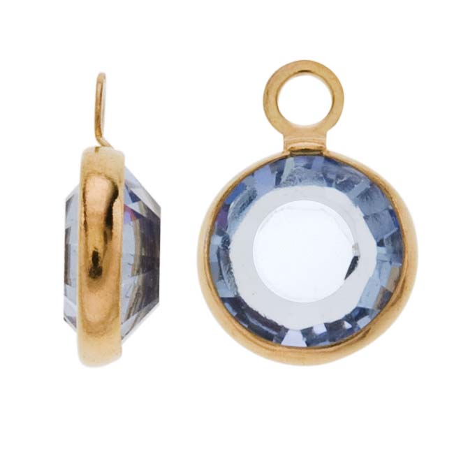 Swarovski Crystal, Gold Plated Channel Charm, 7mm, 8 Pieces, Light Sapphire