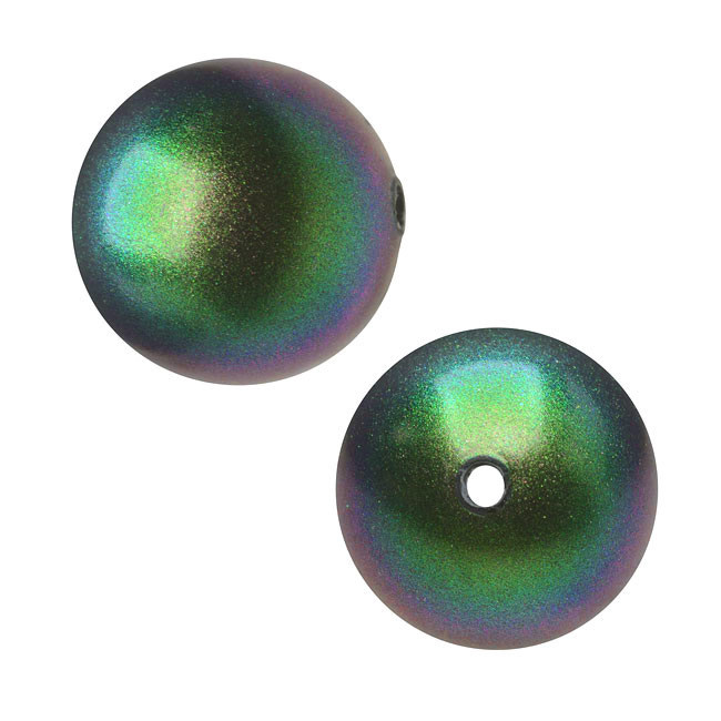 Swarovski Crystal, #5810 Round Faux Pearl Beads 10mm, 10 Pieces, Scarabaeus Green