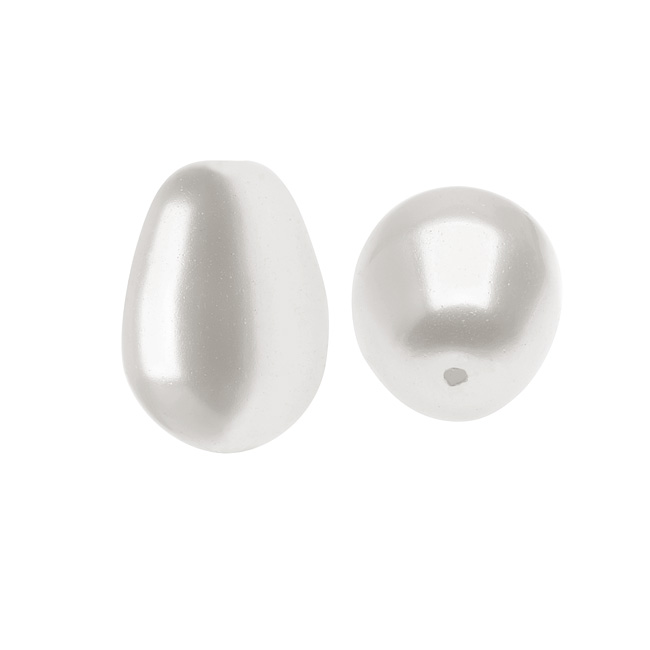 Swarovski Crystal, #5821 Pear Shaped Faux Pearl Beads 11mm, 4 Pieces, White