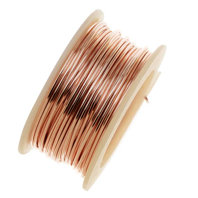Final Sale - Artistic Wire, Silver Plated Craft Wire 24 Gauge Thick, 10 Yard Spool, Rose Gold Color