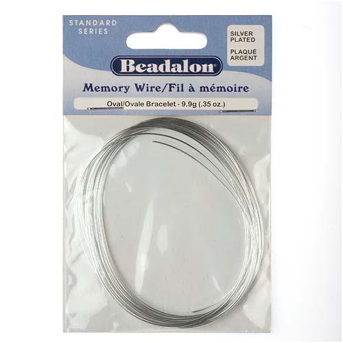 Beadalon Oval Bracelet Memory Wire Silver Plated Steel 23 Loops .35 Oz