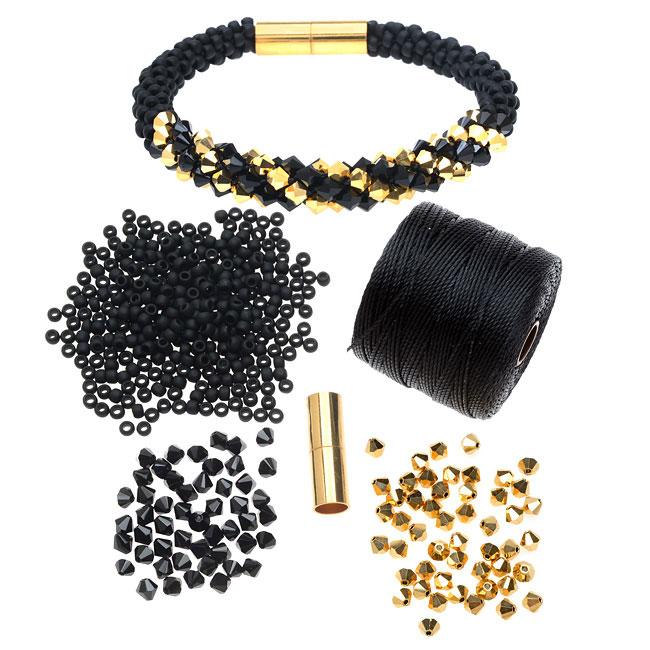 refill deluxe beaded kumihimo bracelet black gold