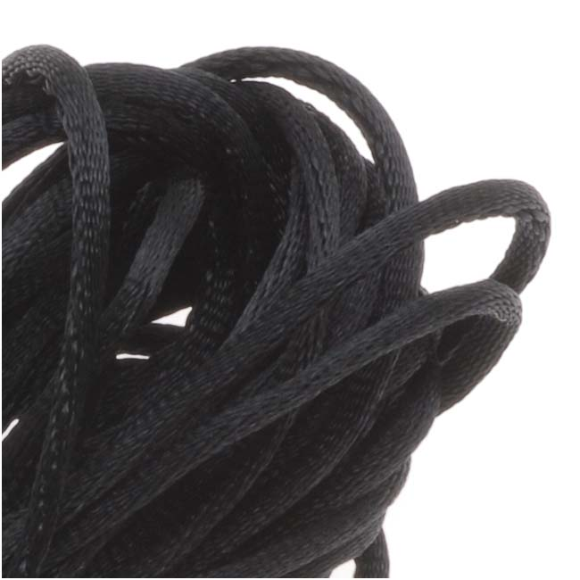 Rayon Satin Rattail 1mm Cord - Knot & Braid - Black (6 Yards)