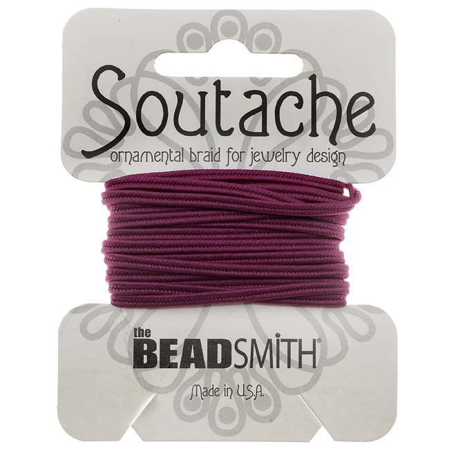 The Beadsmith Soutache Braided Cord 3mm Wide - Magenta (3 Yards)