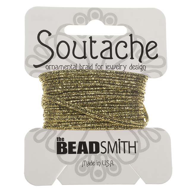 The Beadsmith Textured Metallic Soutache Braided Cord 3mm - Gold/Black (3 Yards)