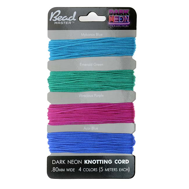 Chinese Knotting Cord Assorted Variety Pack 0.8mm Thick - Dark Neon Mix (4 Pack)