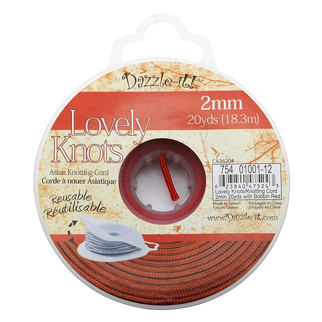 Lovely Knots - Chinese Knotting Cord 2mm Thick - Red (20 Yards On Bobbin)