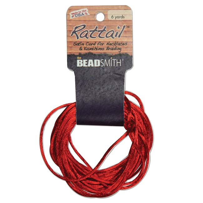 The Beadsmith Satin Rattail Braiding Cord 1mm Red 6 Yards - For Kumihimo