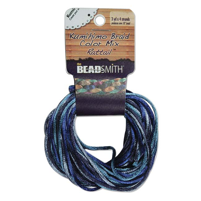The Beadsmith Satin Rattail Braiding Cord 2mm Blue Tones Mix 4 Colors - 3 Yds Each